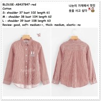 AB437847 Baju Atasan Kemeja Garis Wanita Blouse Korea Import Merah Red
