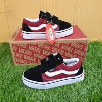 Sepatu Anak Vans Old Skool Black Red Velcro Premium Original