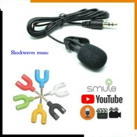 PAKET YOUTUBER VLOGGER SMULE rekaman Microphone Clip On + Audio Splitt