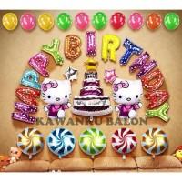 Hello Kitty Set Dekorasi Colourfull Ulang Tahun Anak Balon Foil Balon