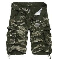 Fashion Pria Celana Pendek Cargo dengan Motif Camo Tentara untuk Musim