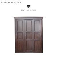 Lemari pakaian sleding minimalis pintu 3 / lemari jumbo kayu jati