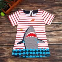 Kid Toddler Baby Girls Cartoon Stripe Shark Print Dress Short Sleeve C