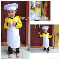 celemek anak TK apron plus Topi Koki chef anak