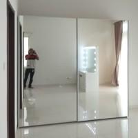 lemari pakaian sliding 2 pintu full cermin/rel gantung/lemari duco