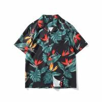 Kemeja Import Hawaiin Tropical Black Baju Distro Fashion Pria Cowok