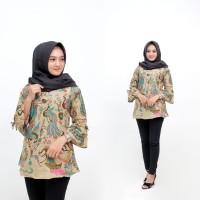 Atasan Batik Wanita - Blouse Baju Batik Kerja Wanita Motif Merak