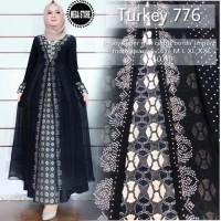 GAMIS ABAYA ARAB turkey 776 JERSEY mix CERUTY aplikasi BORDIR