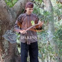 Sorjan, Setelan Sorjan Celana + Iket Batik - Baju Jawa Lurik Hitam