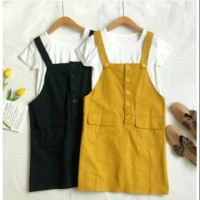 jumpsuit rok mini dress overall baju wanita polos button anak remaja