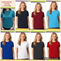kaos polos pendek wanita putih-merah-hitam-biru-navy-toska-maroon