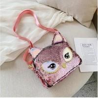 Hot Produk Terbhaique Sling Bag Tas Selempang Anak Sequin Owl Smiggle