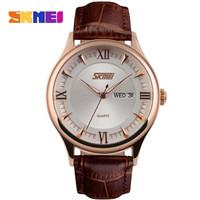 skmei 9091 jam tangan pria tali kulit casual original water resist 30m