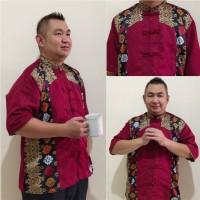 Baju Cina Jumbo Rico batik Imlek lengan pendek Pria
