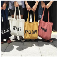 tote bag tas simple bahan kanvas tebal ukuran besar murah ada seleting