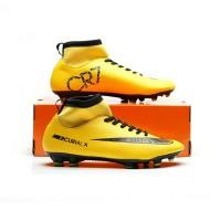 sepatu sepak bola nike mercurial kuning dan hitam skin boots 38-44