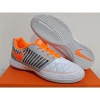 Sepatu Futsal Nike Lunar Gato II White Orange Metallic Silver