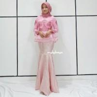 Baju Gaun Dress SET KEBAYA TULLE ORGANZA ROK DUYUNG Pink