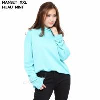 MANSET Baju Kaos Polos Wanita Tutlrtlenck Lengan Panjang Size XXL