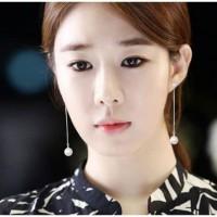ANTING KOREA PANJANG SIMPLE WANITA TUSUK PEARL MUTIARA SILVER S925-SBY