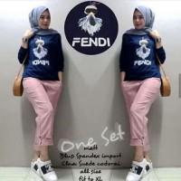 Fendi One Set - Baju setelan wanita - Atasan Celana Wanita