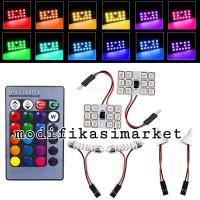 LED PLAFON RGB LED KABIN RGB DENGAN REMOTE LED T10 FESTOON RGB