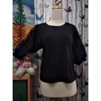 baju blouse wanita hitam brukat atasan tangan pendek