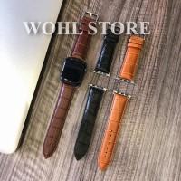 Strap Apple Watch Leather Kulit Series 2 3 4 38mm 40mm 42mm 44mm IWO 8 - Hitam, 38 40mm