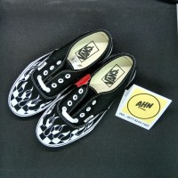 Sepatu Vans Authentic Checker Flame Black White - ORIGINAL 100% - BNIB