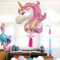 Balon Foil Unicorn Pink JUMBO / Balon Foil Karakter Unicorn