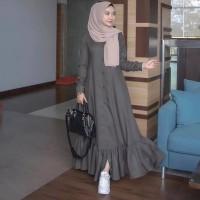 FEBRIYA MAXI Baju Hijab Panjang Simple Gaun Kerja Gamis Muslimah Baru