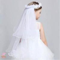 Bando veil pengapit mahkota bunga pengantin panjang faring anak import