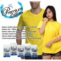 Kaos Polos Cotton Katun Premium 24s Combed Kuning Kenari