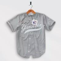 Jersey Baseball Baju Cowok Olahraga Hip hop Yankees Abu