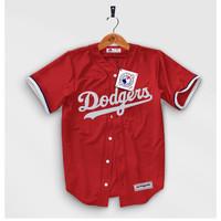 Jersey Baseball Baju Pria Cowok Hip hop Dodgers Merah