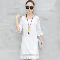 Dress Wanita Lengan Flare Bahan Lace Warna Putih Ada Ukuran Besar untu