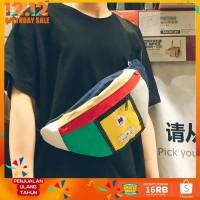 Tas Dada Casual Bahan Kanvas Korea Waistbag Chest Bag Cowok Cewek