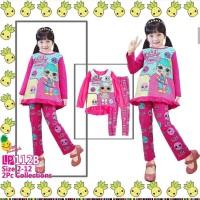 Baju Tidur Piyama Anak Perempuan Little Pineapple LOL Panjang Pink Tua