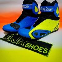 Sepatu Motor Drag-Touring Alpinestar K-Pro Biru-Kuning Stabilo New