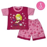 Baju Setelan Anak Perempuan Pink Princess Sofia Model A Shirton - SOFIA A, Size O Pink