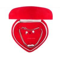 Set Kotak Perhiasan / Kotak Kalung, Anting dan Cincin Jewelry Box (TL) - Merah