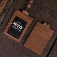 Name Tag ID Card Holder Temboro Kalung Premium ID Badge Leather Clip G