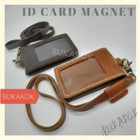 ID CARD HOLDER MAGNET, BADGE HOLDER MAGNET - ID CARD MAGNET KULIT ASLI