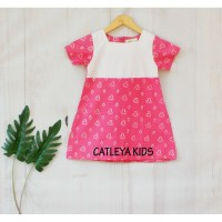 Baju Dress Batik Anak Amarilis Series Pink motif jumputan