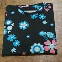 Atasan Baju Kaos Katun Lengan Pendek Panjang Motif Bunga - LENGAN PENDEK