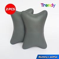 Bantal mobil kulit sintetis - Baper Series (Abu)
