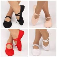 Sepatu Ballet Balet Senam Menari Anak Dewasa Kanvas Polos Split Sole