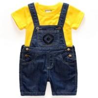 Baju kostum anak Baby MINION romper set over