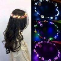 Mahkota Bunga Lampu LED Headpiece Crown Flower Bando Bridal Shower 365