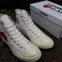 Sepatu Converse Play COMME des GARCONS Warna Putih Panjang